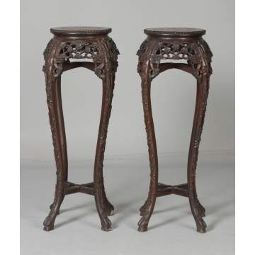 Pair of Chinese Export Carved Teakwood Stands w/Marble Tops