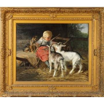 Sgn. H. Biederman ptg., Young girl with dog and goats