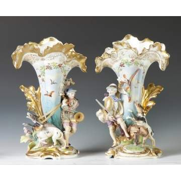 Old Paris Porcelain Spill Vases