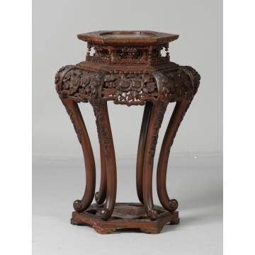 Carved Chinese Hardwood Stand