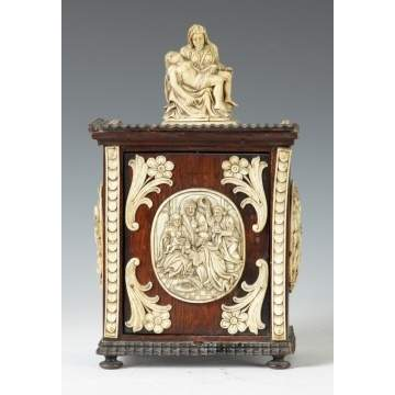 Late 17th/18th Cent. Italian Carved Walnut and Ivory Shrine