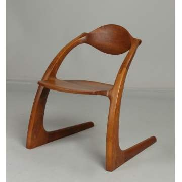 Wendell Castle (Rochester, NY, B. 1932.) Walnut Zephyr Chair