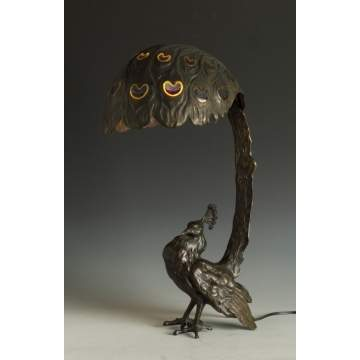 Unusual Bronze Peacock Lamp
