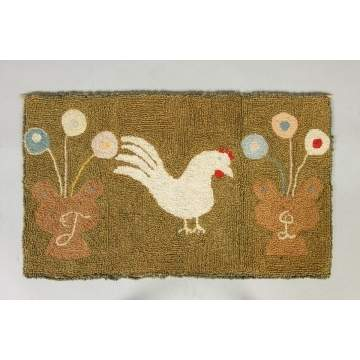 Hooked Rug with Rooster & Flower Pots