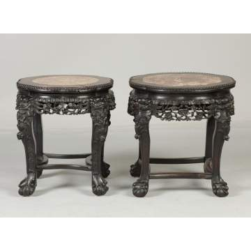 Chinese Carved Hardwood Stands with Marble Top