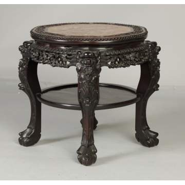 Chinese Carved Hardwood Stand with Marble Top
