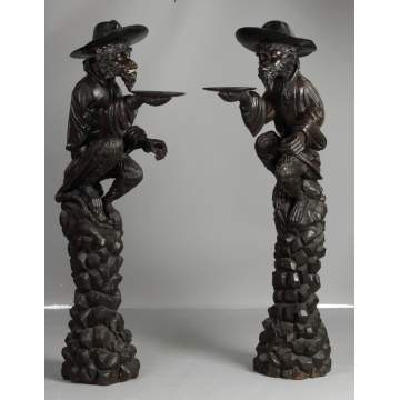 A Pair of Black Forest Carved Guard Monkeys