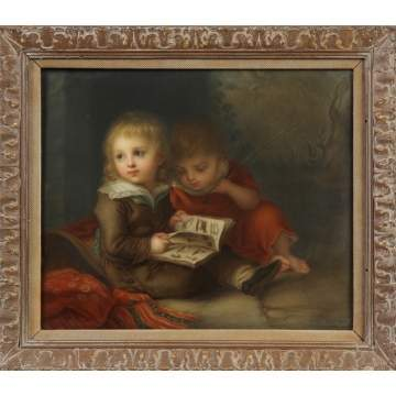 Sgn. KPM Plaque of Two children reading a book