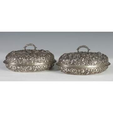 A Pair of Kirk Sterling Silver Covered Serving Dishes