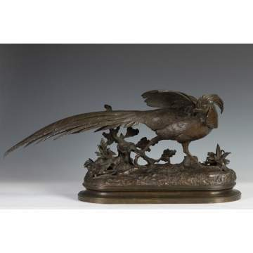 Jules Moigniez (French, 1835-1894) Bronze Sculpture of Pheasant