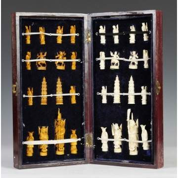Early 20th Century Carved Ivory Chess Set