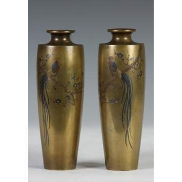 A Signed Pair of Japanese Mixed Metal Vases