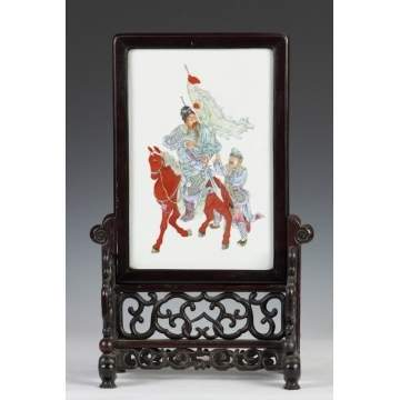 Chinese Porcelain Hand Painted Table Screen
