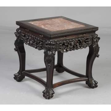 Chinese Carved Hardwood Table with Marble Top