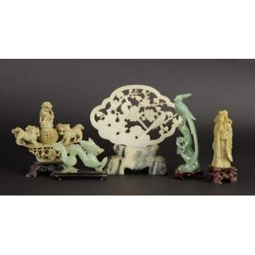 Group of 5 Asian Jade & Alabaster Carvings