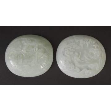 2 Chinese Carved White Jade Plaques