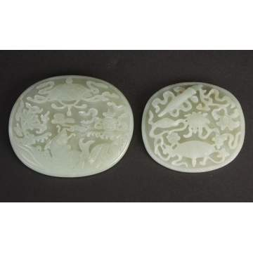 2 Chinese White Jade Plaques