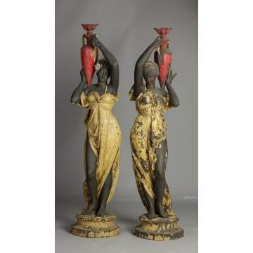 Victorian Patinated Metal Ladies with Urns