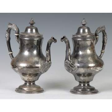 Pair of Bailey & Co., Chestnut St., Sterling Silver Coffee Pots