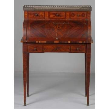 French Rosewood & Satinwood Inlaid Ladies Cylinder Desk