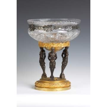 Gilt Bronze & Cut Glass Center Bowl