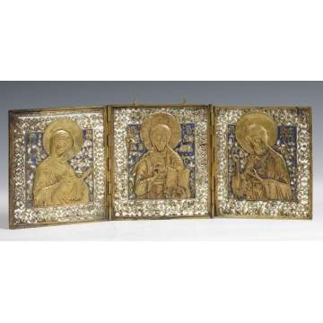 Early Enameled Brass Triptych Icon
