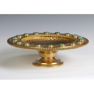 Gilt Bronze Compote with Inset Malachite