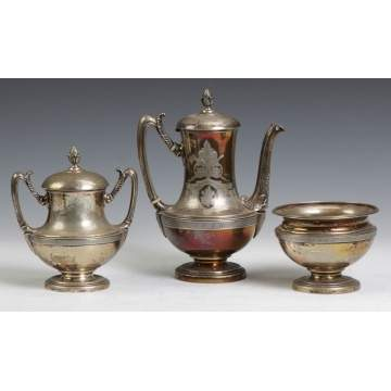 Tiffany & Co. Covered Sugar Bowl, Coffee Pot & Waste Bowl