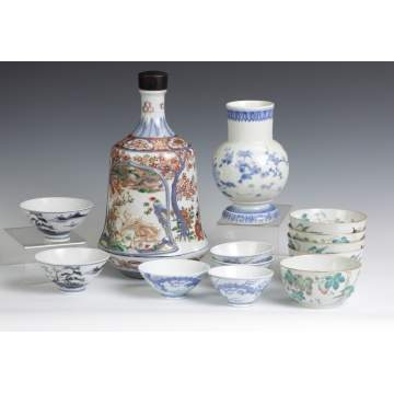 Japanese Porcelain Bottle & 2 Cups