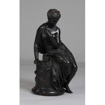 Victorian Bronze Sculpture of a Seated, Robed Lady