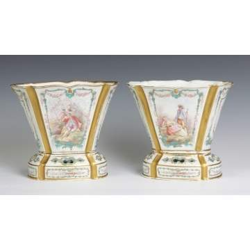 Sevres Porcelain Cache Pots with Flower Frogs
