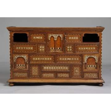Inlaid Ivory & Ebony Collectors Cabinet
