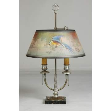 Pairpoint Reverse Painted Lamp with Parrot in Lake Scene