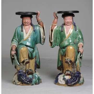 A Pair of Chinese Pottery Sancai Glazed Plant Stands