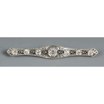 Platinum & Diamond Bar Pin
