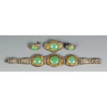 Chinese Silver & Jade Bracelet, Pin & Earrings