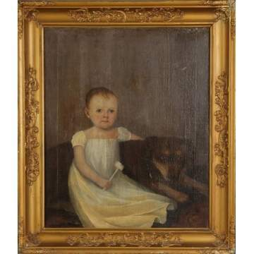 Ptg. Of a young child with rattle & dog