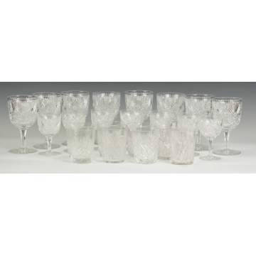 Cut Glass Stemware & Tumblers together with Etched Glass Stemware
