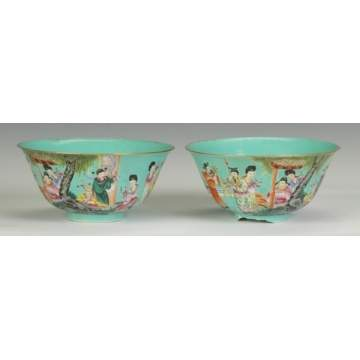 A Pair of Chinese Turquoise Glazed Porcelain Bowls