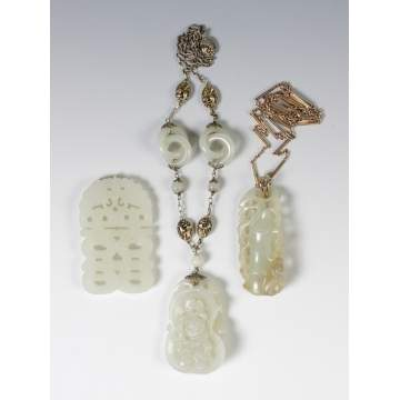 3 Carved Jade Pendants