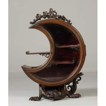 Unusual Crescent Shaped Carved Wood Display Cabinet