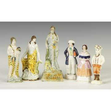 Group of Early 19th cent. Pearlware Figures together with 2 Staffordshire Figures