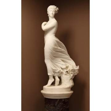 "Thomas Ridegeway Gould (American, 1818-1881) ""The West Wind"" Marble Sculpture"