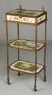 French 3 Tiered Brass & Porcelain Stand