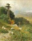 James Cantwell (American, 1856-1926) Sheep/landscape