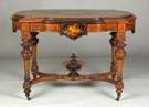A Fine Victorian Inlaid & Gilded Walnut Parlor Table