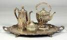 Gorham Mfg. Co. 3-Pc. Silver Plate Tea Service together with Unmatched Tray