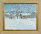 Chauncey M. Adams ( New York, B. 1895) Winter scene w/house & barn