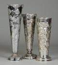 3 Large Silver Plate Vases