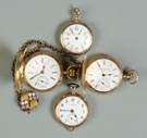 4 14K Gold Ladies Pocket Watches